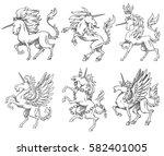 vector set of six images of... | Shutterstock .eps vector #582401005