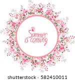 round frame with pretty flowers ... | Shutterstock .eps vector #582410011
