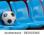 football on the blue plastic...   Shutterstock . vector #582410365