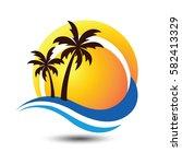 summer holidays design labels ... | Shutterstock .eps vector #582413329