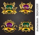 set of golden royal shields... | Shutterstock .eps vector #582413509