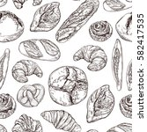 vector set seamless pattern... | Shutterstock .eps vector #582417535