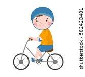 activity boy on bike young fun... | Shutterstock .eps vector #582420481