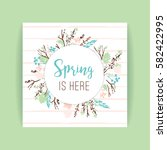 spring frame of branches and... | Shutterstock .eps vector #582422995