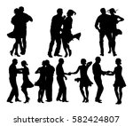 elegant latino dancers couple... | Shutterstock .eps vector #582424807