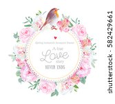 floral vector round card with... | Shutterstock .eps vector #582429661