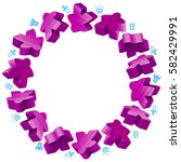 circle frame of purple meeples...   Shutterstock .eps vector #582429991