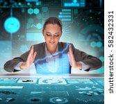 businessman in futuristic...   Shutterstock . vector #582432331