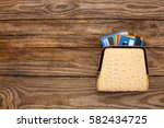 credit card  in wallet on... | Shutterstock . vector #582434725