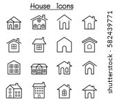 house icon set in thin line... | Shutterstock .eps vector #582439771