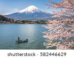 Mount Fuji And Sakura Cherry...
