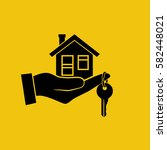 house key in hand icon. real... | Shutterstock .eps vector #582448021