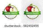 red apple badge. fresh fruits | Shutterstock .eps vector #582452455