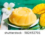 mango pudding  jelly on white... | Shutterstock . vector #582452701