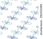 Odonata. White Seamless Patter...