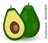 realistic avocados. whole and...   Shutterstock . vector #582453835