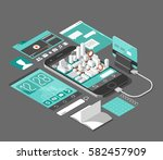isometric smart phone interface.... | Shutterstock .eps vector #582457909