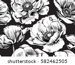 Stock vector seamless pattern with image anemones flowers vector black and white illustration 582462505