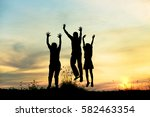 silhouette group of friends... | Shutterstock . vector #582463354