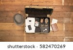 vintage packed traveling... | Shutterstock . vector #582470269
