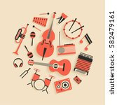music  vector flat illustration ... | Shutterstock .eps vector #582479161