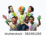 5 indian small kids   friends   ... | Shutterstock . vector #582481285