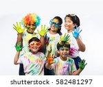 5 indian small kids   friends   ... | Shutterstock . vector #582481297