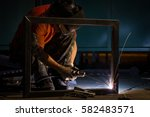 worker with protective mask... | Shutterstock . vector #582483571