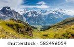 great view of eiger village....   Shutterstock . vector #582496054