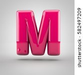glossy pink paint letter m...   Shutterstock . vector #582497209