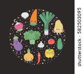 cute cartoon vegetables circle... | Shutterstock .eps vector #582503095