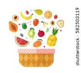 fruit basket flat style... | Shutterstock .eps vector #582503119