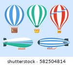set of hot air balloons and... | Shutterstock .eps vector #582504814