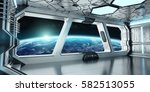 spaceship white and blue... | Shutterstock . vector #582513055