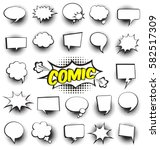 Big Set of Cartoon,Comic Speech Bubbles, Empty Dialog Clouds with Halftone Dot Background in Pop Art Style. Vector Illustration for Comics Book , Social Media Banners, Promotional Material | Shutterstock vector #582517309