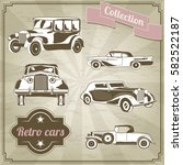 set of retro cars on vintage... | Shutterstock .eps vector #582522187