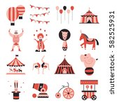 circus collection with carnival ... | Shutterstock .eps vector #582525931