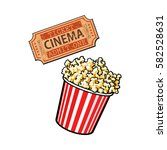 cinema objects   popcorn bucket ... | Shutterstock .eps vector #582528631