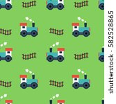 kid seamless pattern with train ... | Shutterstock .eps vector #582528865