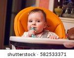 portrait of a little baby girl... | Shutterstock . vector #582533371