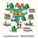 central thailand travel with... | Shutterstock .eps vector #582534505