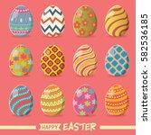 vintage easter egg poster... | Shutterstock .eps vector #582536185