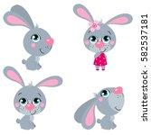 set of cute cartoons  easter... | Shutterstock .eps vector #582537181
