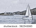 greyscale seascape with cloudy... | Shutterstock . vector #582543085