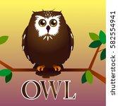 pretty owl on a tree | Shutterstock .eps vector #582554941