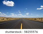 empty desert road stretching in ... | Shutterstock . vector #58255576