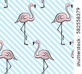 pink flamingos. tropical vector ... | Shutterstock .eps vector #582558379