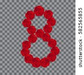 the number 8 made of red roses. ... | Shutterstock .eps vector #582565855