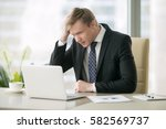 young disappointed businessman... | Shutterstock . vector #582569737