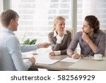 bank consultant trying to... | Shutterstock . vector #582569929